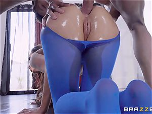 nasty lubed up Nikki Benz thrashed in her booty