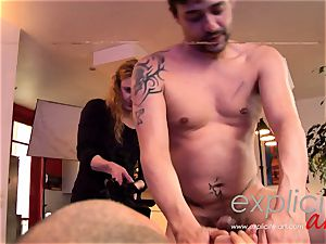 big-boobed French nubile in a horny threeway double penetration