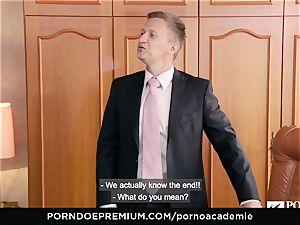 porno ACADEMIE Lana Rhoades enjoys drilling French man meat