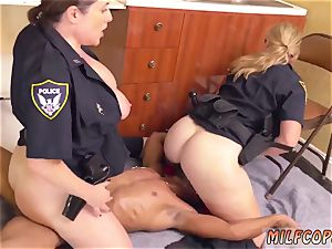 lubed up multiracial dark-hued masculine squatting in home gets our cougar officers squatting on