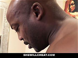 SheWillCheat - cuckold wife pokes big black cock in bathroom