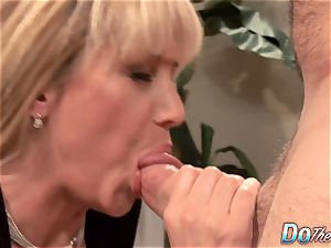 handsome blond mummy plumbed supreme in front of her hubby