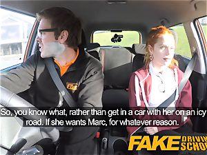 fake Driving college cute redhead Ella Hughes pounds