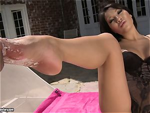 beautiful chinese Asa Akira loves getting her marvelous soles idolized by her beau