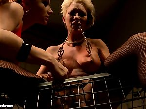 Katy Borman torturing a ash-blonde cutie lady