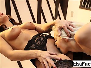 Elsa receives a tough lesson from her buxom educator Holly