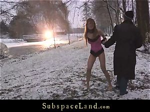 Sever sir torments gimp Olga Barz out in the cold