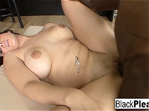 ginormous boobed Rachel lets a big black cock jizm inwards her