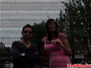 huge-titted amsterdam prostitute in three way manhood inhaling