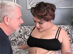 obese new-comer penetrates and jizz in the gullet