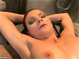 Mandy Bright tie a super-hot babe with wire on the table