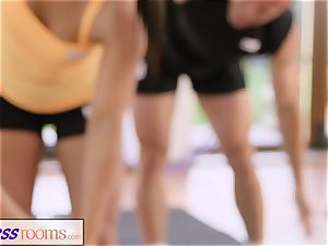 FitnessRooms sweat-soaked bosom in a room total yoga babes