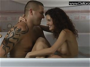 mind-blowing brunette virgin Koromislo with Thomas Stone