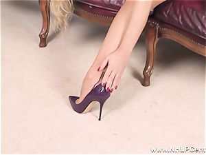 towheaded takes off off underwear and solos in nylons and stilettos