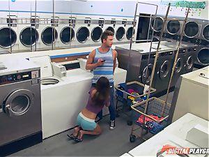Dillion Harper porked in a laundry basket
