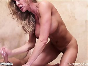 buxomy milf Brandi love with massive baps entices her stepson in the douche