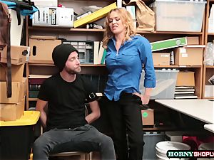 Krissy Lynn searches suspended shoplifter and rails his salami