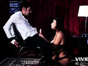 steamy Swinger Romi Rain strips And Blows Her customer