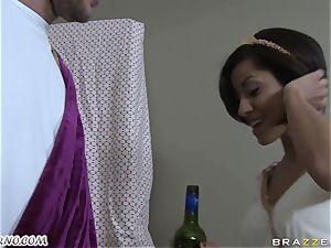 drunk Greek sweetheart takes salami of her new beau