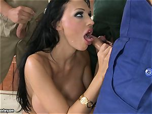 insane paramour Aletta Ocean takes one fuck-stick at a time dipping hot in her facehole