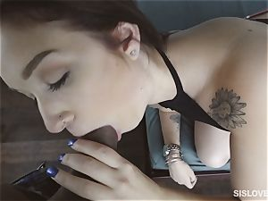 Naiomi Mae blowing on her bothers penis