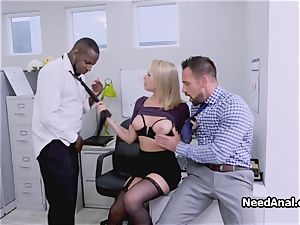 big-chested assistant dual romped in the office