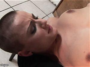 Kathia Nobili tie slim honey on table and fake penis plumb