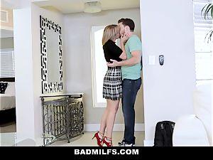 BadMILF - Jealous Stepmom 3some With Stepson And gf