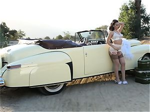 Lana Rhoades antique car cootchie play