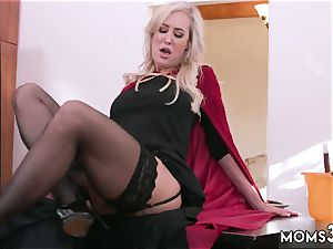 cougar catches me wanking off Halloween special With A 3some
