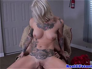 Tattood real ash-blonde cougar boned in ass