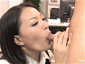 assistant plays with his weenie with her mouth and soles