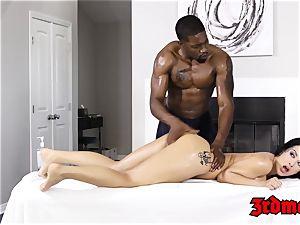 Katrina Jade smashed by big black cock after massage