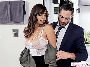 Latina office superslut takes a geyser on her huge bra-stuffers