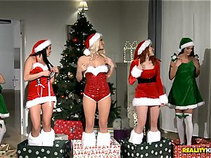 two boys get the hottest Christmas surprise with redheaded Amarna Miller and her two scorching friends Tricia nubile and Blanche Bradburry
