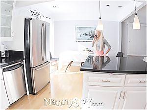 bony platinum-blonde nanny gets what she deserves; a proper drilling