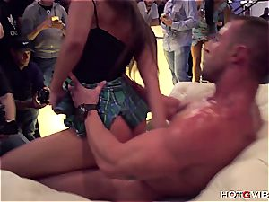 brown-haired in public getting her cock-squeezing pinkish puss boned