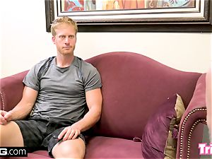 Maddy romps the therapist while her hubby waits